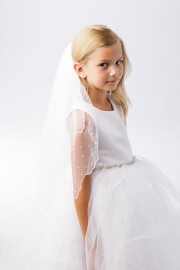 First Communion Veil with Scalloped Pearl Trim