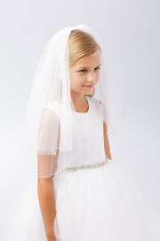 First Communion Veil with with Clear Beaded Trim