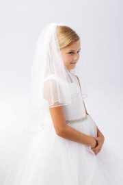 First Communion Veil with with Rhinestone Trim