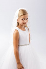 First Communion Veil Floral Embroidery