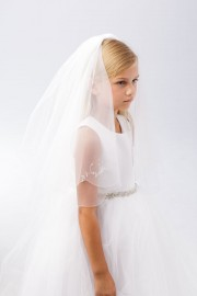 First Communion Veil with with Crystals Floral Motif