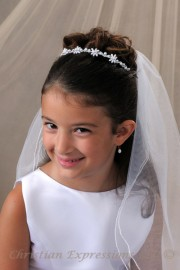 First Communion Pearls Hairband Veil