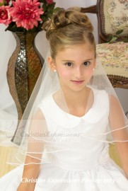 Two Tier  First Communion Veil with Pearl Edge Trim