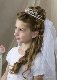 First Communion Veil with Pearl Crown Headpiece