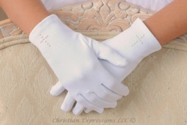 First Communion Gloves with Pearl Cross